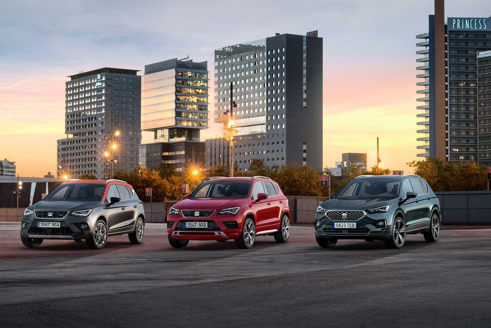 La famille SUV de SEAT avec Arona Ateca et le nouveau Tarraco