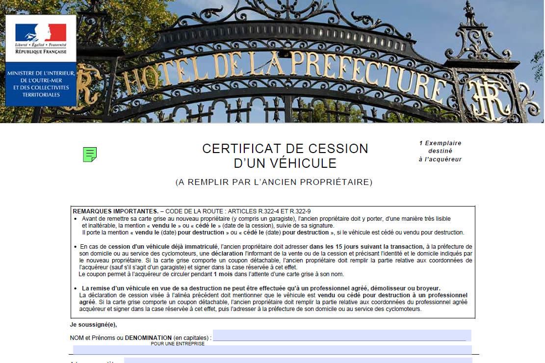 Certificat De Non Gage Gratuit Et Immediat